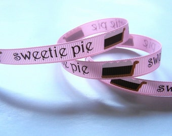 Sweetie Pie Ribbon 3/8 inch Choose 1-20 yards Printed Grosgrain Ribbon - High Quality