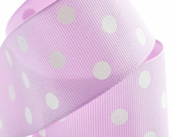 Light Purple with White Polka Dots 1-1/2 inch Grosgrain Ribbon - Choose 1, 5, 10 or 25 yards - Hairbow Supplies, Etc