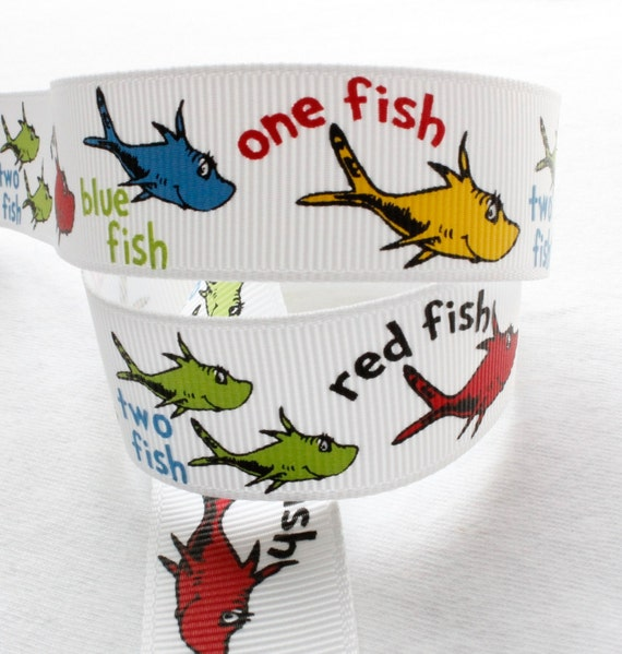 One Two Fish Red Blue 5 yards 7/8 inch Grosgrain Ribbon Hairbow Supplies, Etc.