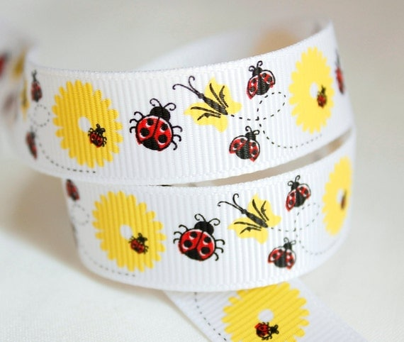 Ladybug with Yellow Flowers 5 yards 7/8 inch Grosgrain Ribbon Hairbow Supplies, Etc.