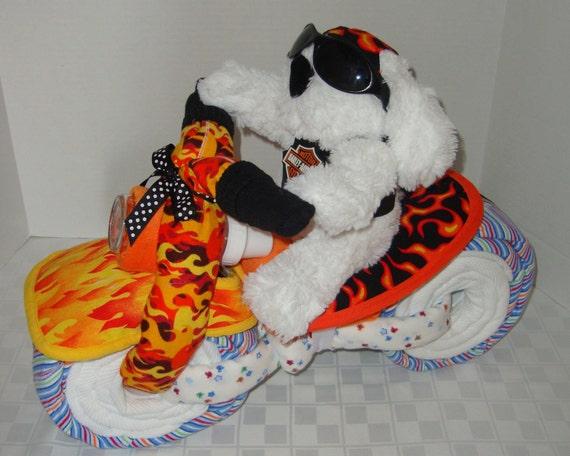 Motorcycle diaper cake harley biker baby shower gift centerpiece