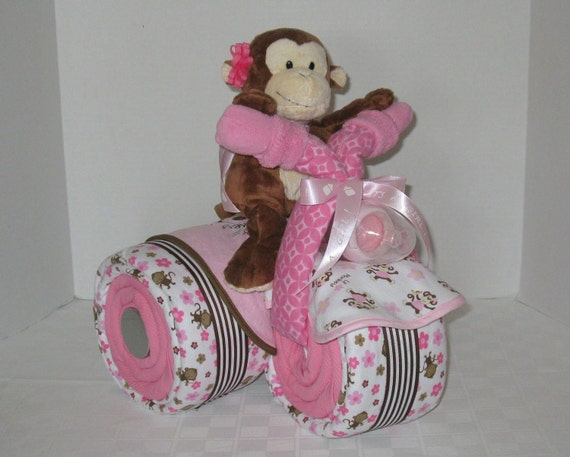 Baby Gift, Baby Cake, Tricycle, Trike, Diaper Cake, Baby Shower Gift ,Centerpiece, Jungle, Monkey, Safari, Pink & Brown