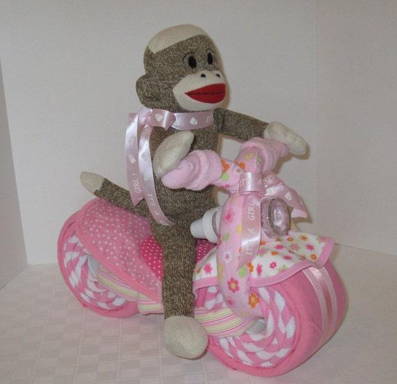 Sock Monkey,Motorcycle Bike Diaper Cake,  Baby Shower Gift, Centerpiece, Baby Cake,  Baby Girl Gift, New Baby