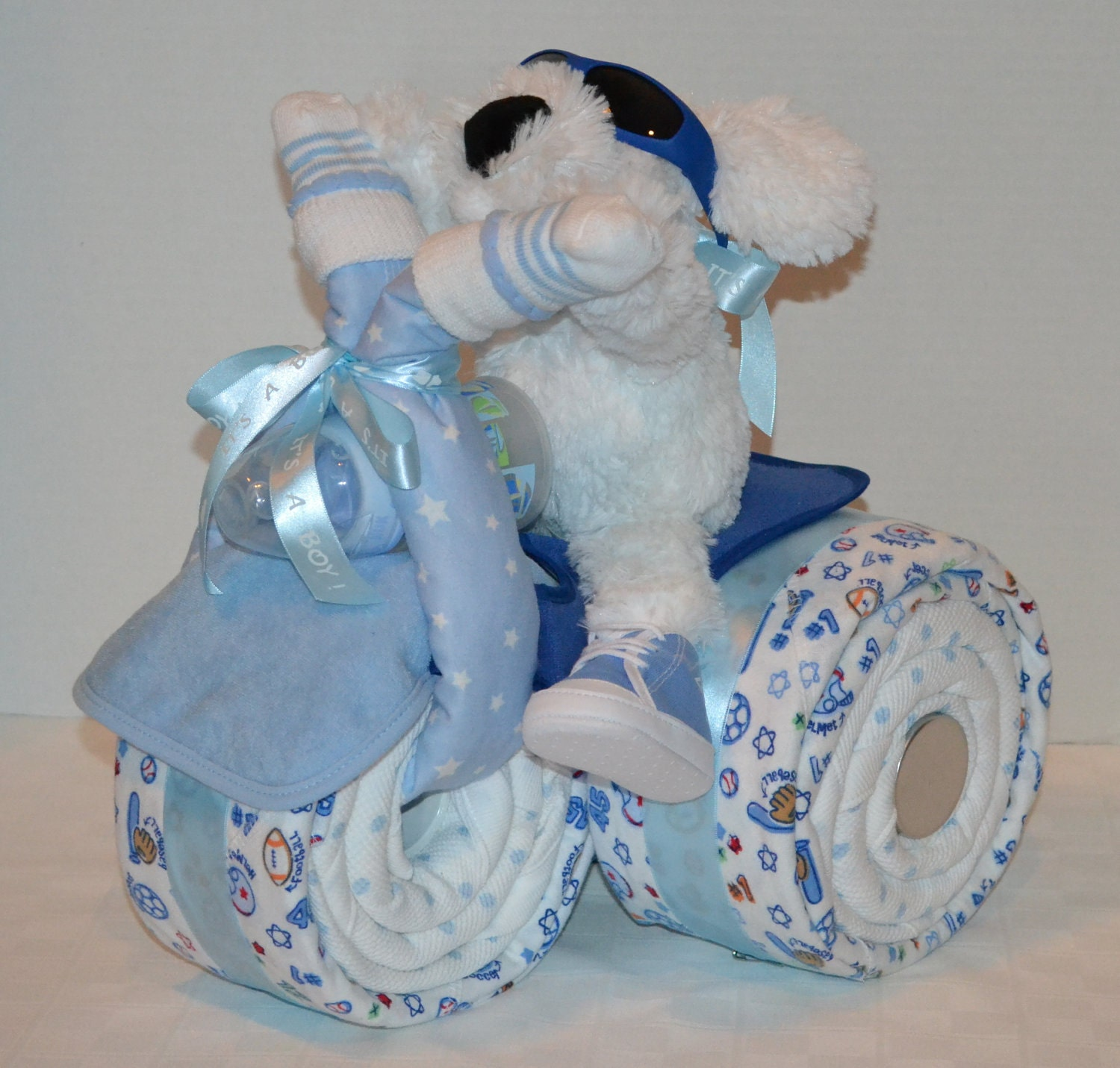 tricycle trike diaper cake baby shower gift sports theme