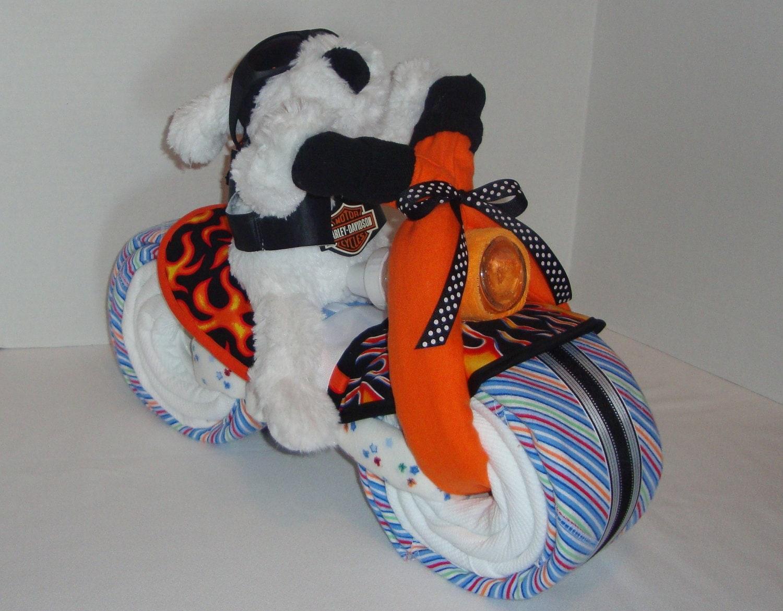 Biker baby motorcycle bike diaper cake baby by arizonababycakes