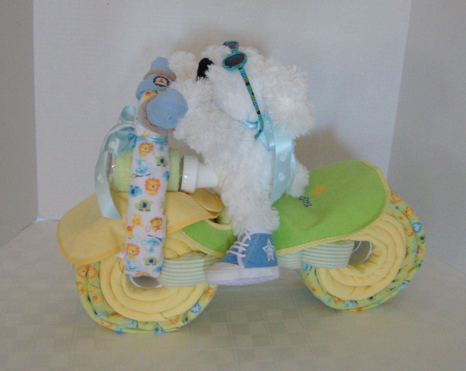 motorcycle bike diaper cake jungle safari baby shower