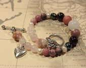 Love Bracelet - Semi-Precious Gems, Pearls and Heart Charm - Pink Opal, Rose Quartz, Rhodonite, Hematite, Lepidolite, Garnet