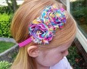 Tie Dye Carnival Shabby Flower Headband