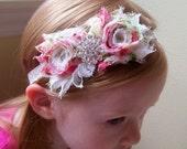 Pink Green Cream Floral Vintgage Shabby Chic Flower Headband Baby Toddler Girls