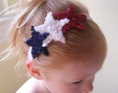 Red White Blue Patriotic Memorial Day 4th of July Shabby Stars Flower Headband Baby Toddler Girls