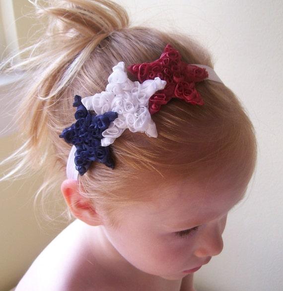 Red White Blue Patriotic Memorial Day 4th of July Shabby Stars Flower Headband Baby Toddler Girls