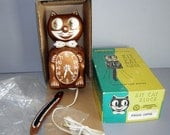 Vintage 60s COPPER Rhinestone Kit Cat Klock & Box ALL ORIGINAL - If Felix ever came back as Elvis