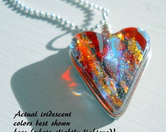 Heart Pendant - Hearts on Fire Dichroic Glass Intense Color & Silver Bead Chain Necklace