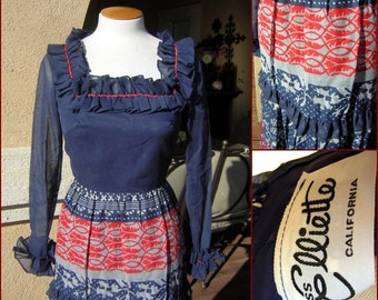 Vintage 70s Miss Elliette Maxi Dress - Red White & Blue Ruffles, Sheer Sleeves Mint condition XS