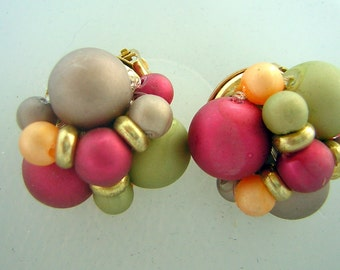 Vintage 50s 60s Atomic Color Ball Earrings - Fruity Frosty Satin Finish - Clip Ons
