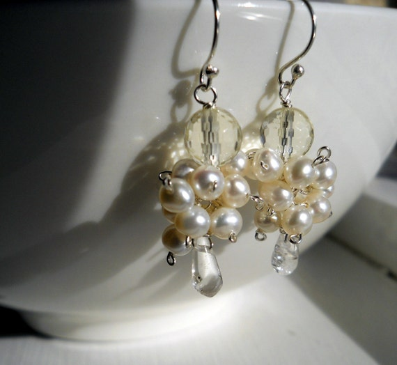 Here Comes the Bride Dangle Earrings - Pearl Fizz Clusters