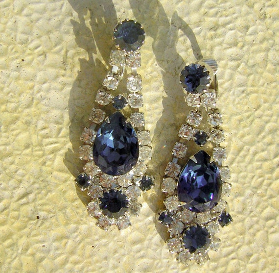 Vintage Midnight Dark Blue Large Rhinestone Dangle Earrings - High Fashion Glam
