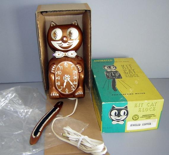 Vintage 60s COPPER Rhinestone Kit Cat Klock & Box ALL ORIGINAL - If Felix ever came back as Elvis