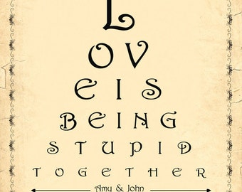 Personalized Eye Chart, Last Minute Valentine's Gift, Custom Eyechart, Customized Vintage Style Gift for Him - DIGITAL Printable JPEG