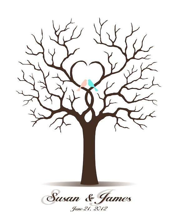 Wedding Guest Book, Wedding Guestbook, Custom Wedding Tree, Guest Book Tree, Alternate Guestbook, Fingerprint Tree - DIGITAL PRINTABLE JPEG