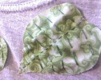 Hand Sewn Fabric Leaves Grey T-Shirt