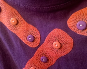 Fabric and Button Applique Purple T-Shirt