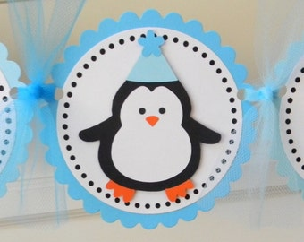 Penguin Happy Birthday Party Banner ~ Aqua & Turquoise