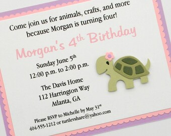 Girl Turtle Birthday Party Invitation