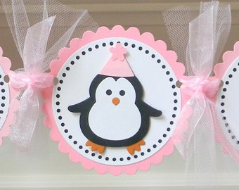 "Pink Penguin ""Happy Birthday"" Party Banner"