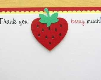 handmade red and yellow STRAWBERRY thank you note card
