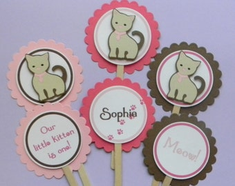 Kitten Happy Birthday Party Cupcake Toppers