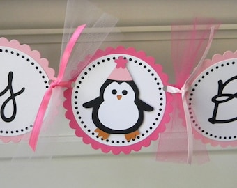 Penguin Happy Birthday Party Banner ~ Pink & Fuchsia