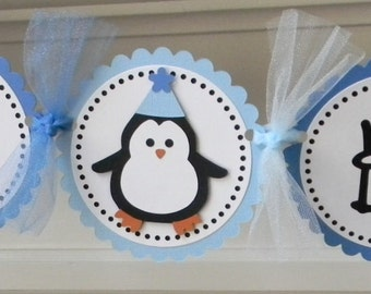 """Blue Penguin """"Happy Birthday"""" Party Banner"""