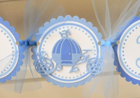 handmade PRINCESS CARRIAGE happy birthday party banner