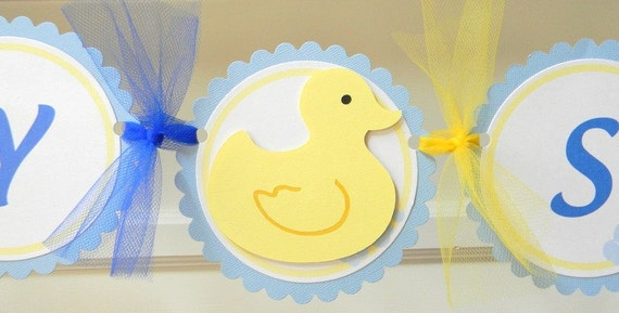handmade DUCKY baby shower party banner