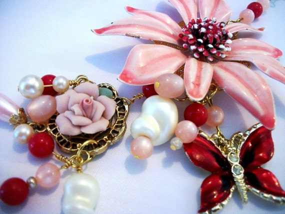 One of a kind statement necklace and bracelet created with vintage elements