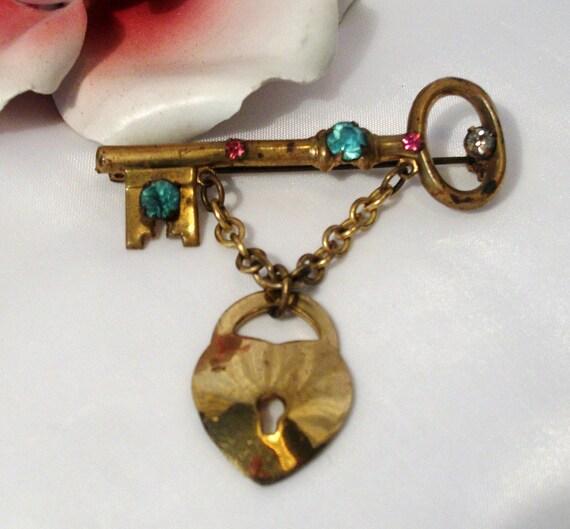 Skeleton key with rhinestones vintage brooch