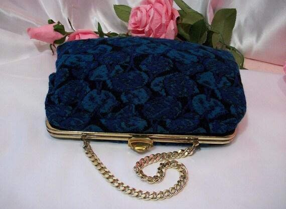Teal and blue vintage carpet bag