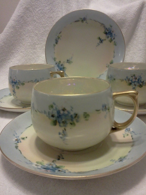 Altrohlah of Czechoslovakia China Cups and Saucers - Set of 3 & Bonus Plate