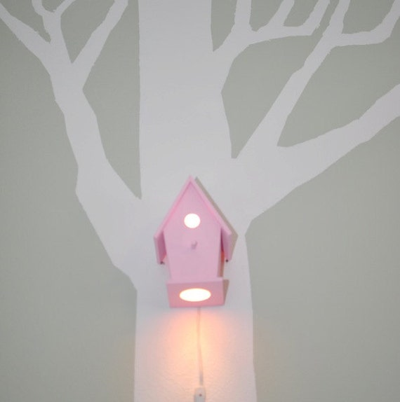 Avery in XOXO Pink Modern Birdhouse Lamp for Baby Girl Nursery Shabby Chic