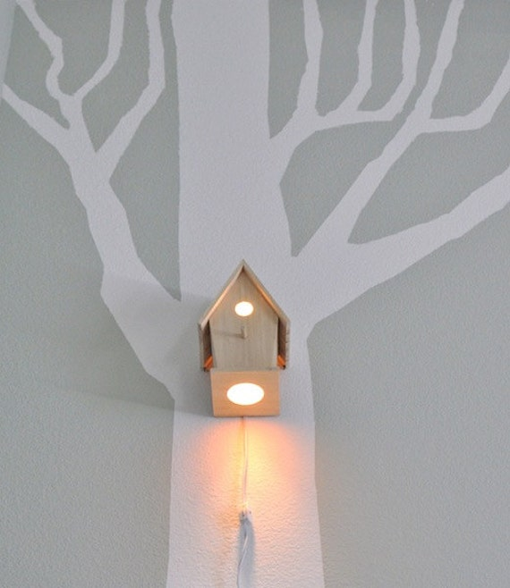 Wall Lamps Etsy : Avery Wall Hanging Birdhouse Lamp Modern Baby Nursery