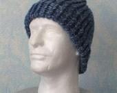 Beanie hat, handknit, denim blue, item VVV5