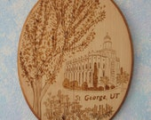 LDS Temple Woodburned Plaque, St. George, Utah