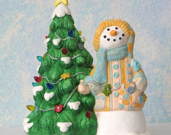 Plaster Snowman with Tree, Handpainted