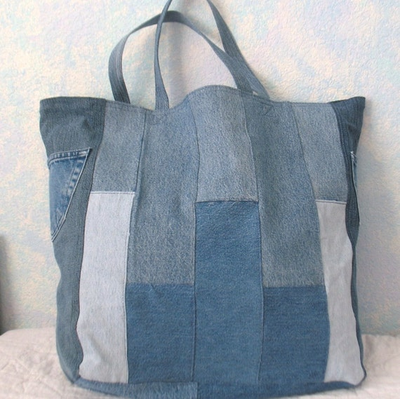 Shopping Bag Repurposed Denim Reusable By Calliescraftcottage