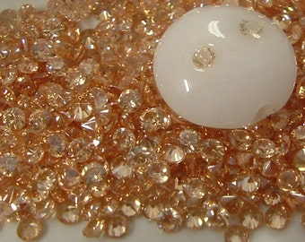 2mm CHAMPAGNE CZs - pkg of 20 Perfect for Lampwork Beads, Polymer Clay or PMC
