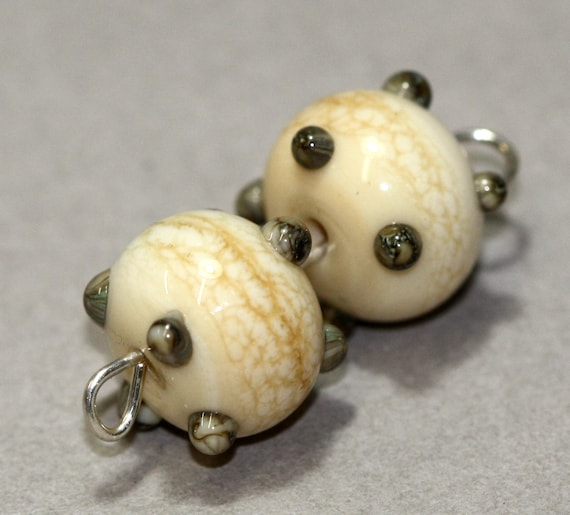 Ivory and Silvered Ivory 4-dot Pair - Handmade Lampwork by Mary Torres SRA