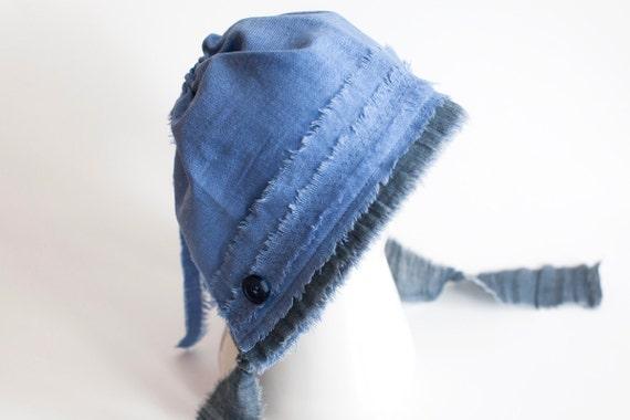 NEW - newborn BOY fabric BONNET  - photography prop - blue, navy