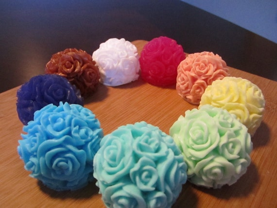 1 oz Rose Ball Soap Favor Sample - Unassembled - Rose Scented - ANY COLOR AVAILABLE