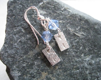 Texturized Sterling Silver Earrings - Dangle Style with Blue Swarovski Crystal - AZTECA